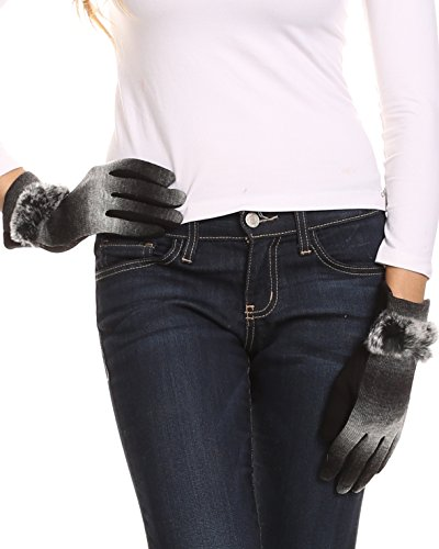 Sakkas 16166 - Sophie Ombre Knitted Faux Fur Wrist Band Touch Screen Capable Gloves - Black / White - L/XL