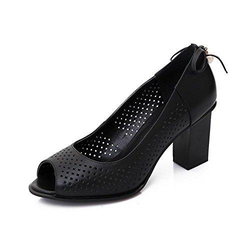 AllhqFashion Mujeres Peep Tacón ancho Sintético Sólido Sin cordones Sandalia Negro