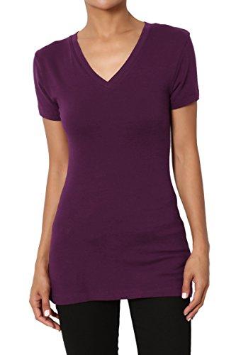 TheMogan Women's Baisc V-Neck Short Sleeve T-Shirts Cotton Tee Dark Plum XL