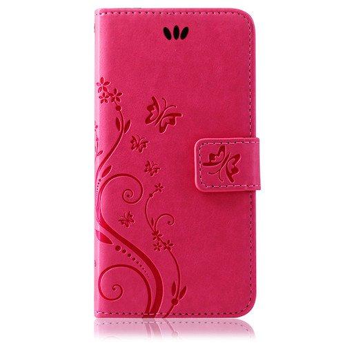 betterfon | Flower Cover Handytasche Schutz Hülle Blume Case Buch Klapptasche Handyhülle Handy Schale für Apple iPhone 7 Plus Pink