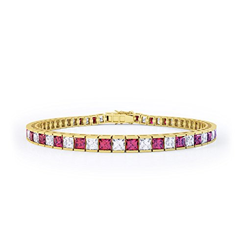 Rubis princesse et Diamant Bracelet de tennis d'argent (16,5cm or jaune)