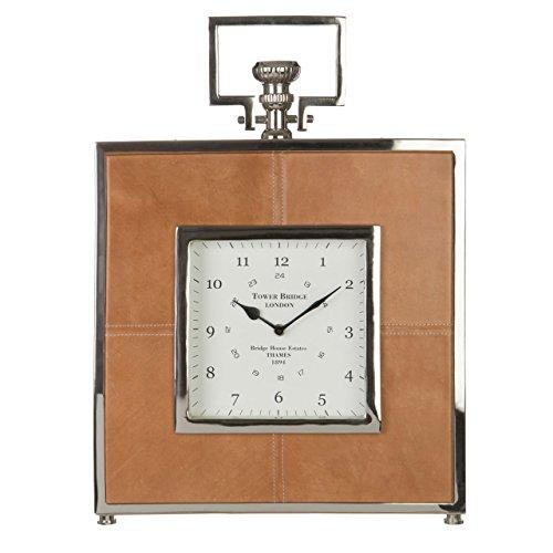 Churchill Clock - Premier Housewares Churchill Table Clock, Metal, Brown, 41x 8x 57cm