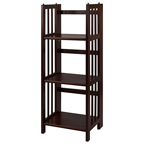 Casual Home 3-Shelf Folding Bookcase, 14-Inch Wide, Walnut (Bookcase Cabinets)