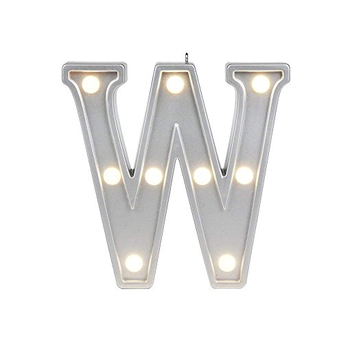Lamp Alphabet (Small Letter W Marquee LED Night Light Sign Up Alphabet Lamp for Birthday Wedding Party Bedroom Wall Hanging Decor Lights Color Silver 4.2 inches high)