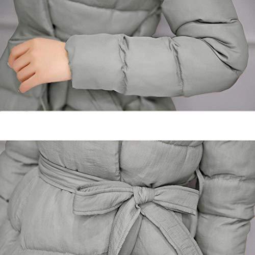 Anchas Casual Unicolor Manga Abrigo Acolchado Grau Outdoor Parka Invierno Larga Espesar Moda Mujer Outwear Elegantes Modernas Cuello Caliente Chaqueta Largos Stand ZH64Bwq