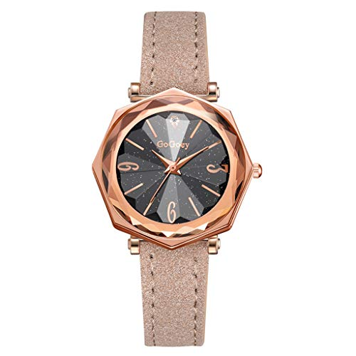 LUCAMORE Women Quartz Watches for Sale Temperament Wrist Watch Starry Sky Dial With Leather Strap Bracelet Jewelry Gift
