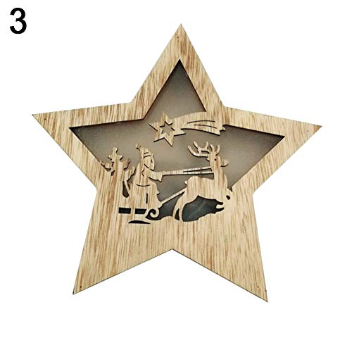 Brave669 [Christmas Decoration] -Christmas Snowman Elk Santa Sled LED Light Star Wooden Ornament Xmas Decoration,Christmas Lights