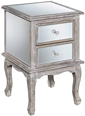 Convenience Concepts Gold Coast Victoria Mirrored End Table, Mirror Weathered Gray