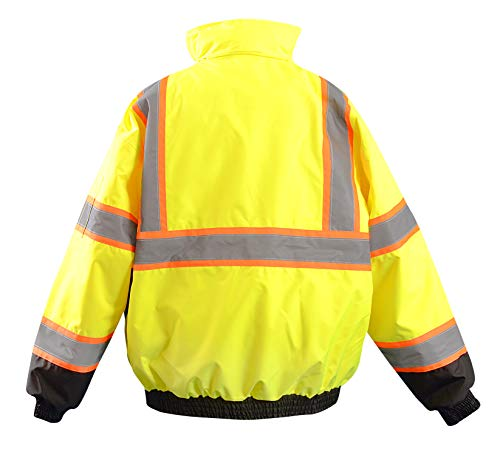 OccuNomix LUX-350-JB2-YS High Visibility 2-in-1 Quilted Two-Tone Black Bottom X Back Bomber Jacket with Zip-Out Quilted Liner and 7 Pockets, Class 3, 100% ANSI Polyester, Small, Yellow by OccuNomix (Image #1)