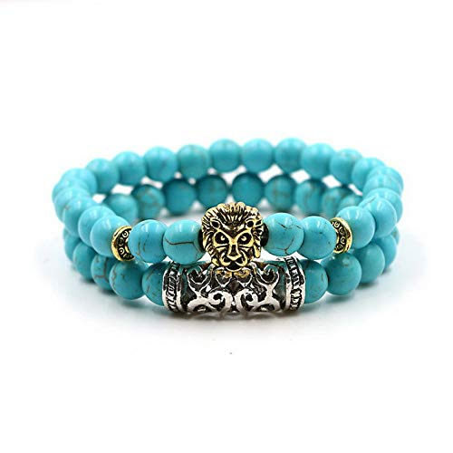 Gatton 2 Pcs Natural Lava Stone Buddha Beads Energy Yoga Reiki Lucky Womens Bracelets | Model BRCLT - 42256 |