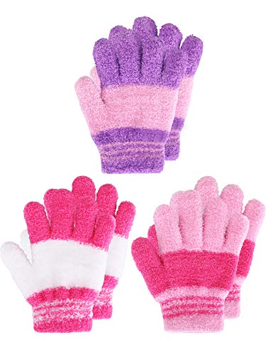 Kids Gloves Full Fingers Knitted Gloves Warm Mitten Winter Favor for Little Boys and Girls (Color Set 4, 4-7 Years Size, 3 Pairs)
