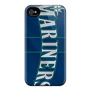 Scratch Protection Hard Cell-phone Cases For Iphone 4/4s With Customized Realistic Seattle Mariners Pattern SherriFakhry