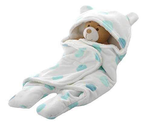 Hooded Sack Baby Sleeping Bag Wrap Swaddle for Boy Baby in Super Soft Double Layer Anti-pill Fleece Sherpa Small Size
