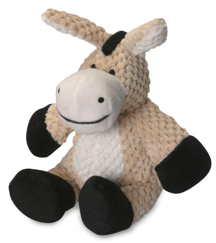 goDog Checkers Donkey With Chew Guard Technology Tough Plush Dog Toy, Tan, Small