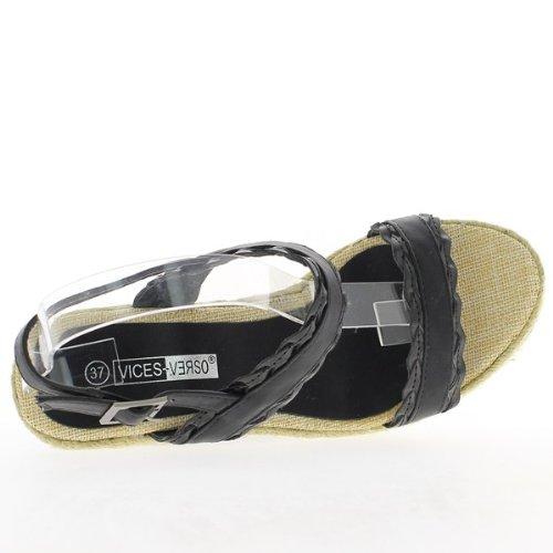Decor nero zeppa Sandali Scarpe da ginnastica al vassoio di tacchi 11cm e 3cm