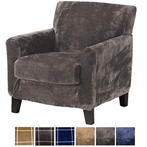 Great Bay Home 2 Piece Modern Velvet Plush Strapless Slipcover. Stretch Furniture Cover. Sorrento Collection (Chair, Frost Grey - Solid)