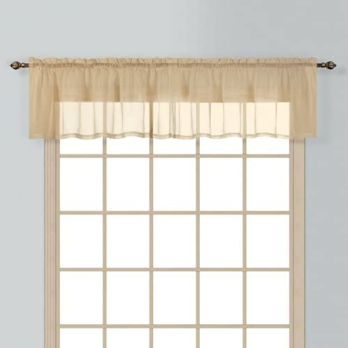 American Curtain and Home Semi-Sheer Window Treatment Valance, 54-Inch by 16-Inch, Taupe