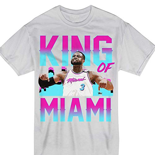 Basketball D-Wade King of Miami Jersey 3 Farewell T-Shirt White ()