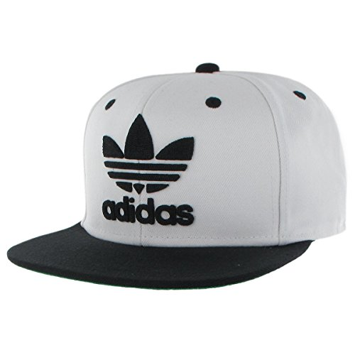 Flat Brim Cap - adidas Originals Men's Originals Snapback Flat Brim Cap, White/Black, One Size