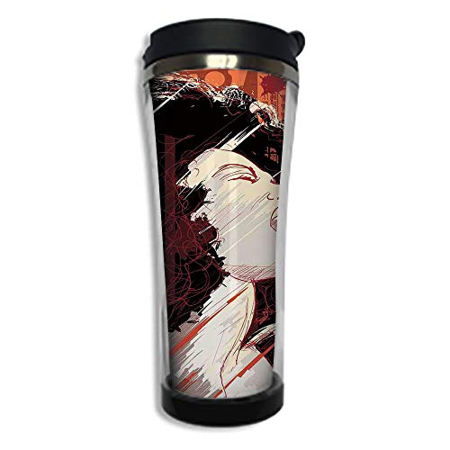Customizable Travel Photo Mug with Lid - 8.45 OZ(250 ml)Stainless Steel Travel Tumbler, Makes a Great Gift by,Afro Decor,Jazz Singer Woman Performing on Grunge Background Musical Sound Illustration,B