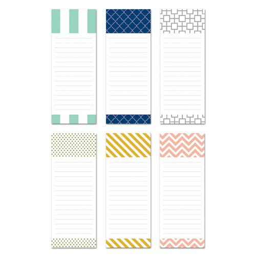 """6 Magnetic Notepads - Modern Design Series - 6 Different Designs on 3.5"""" x 9"""" Pads"""