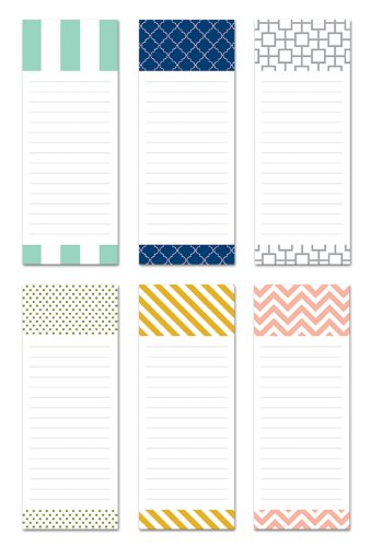 6-Pack Magnetic Notepads for Fridge - to Do List - Grocery Shopping List - School Reminders - Unique Modern Design Series Set - 50 Sheets - 3.5