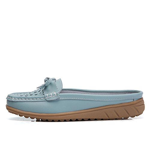 c6d0df444a06b VILOCY Women s Hollow Leather Backless Lazy Loafers Flats Slip on Mules  Shoes Walking Slipper