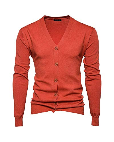 Sólido De Cardigans Hombres Coat Color Neck Larga Naranja Joven Sweater V Elegante Manga Punto Chunky Jacket Knit SwxCg