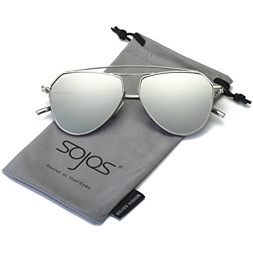 Metal Aviator Shield (SojoS Aviator Flat Mirror Lenses Sunglasses Classic Metal Double Bridge Glasses SJ1040 With Silver Frame/Silver Lens)