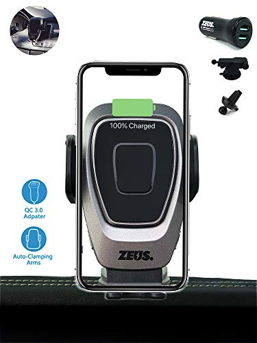 ZEUS 15W Wireless Car Charger Mount, Automatic Clamping, Power Fast Charging Qi Car Charger 10W 7.5W, Vent Dashboard Phone Holder with QC 3.0 Charger, Compatible iPhone Xs Max XR X 8 S10 S9 S8 Note