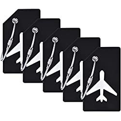 5Pack Black Silicone Luggage Tag With Name ID Card Perfect to Quickly Spot Luggage Suitcase By CPACC