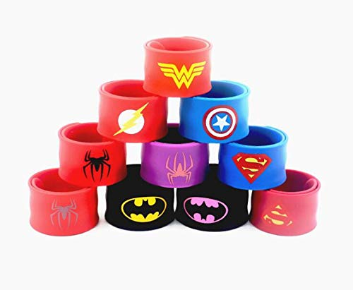 GNEGNI 9PC Silicone Superhero Slap Bracelet Marvel Avengers Captain America Spider Man Superman Batman Flas - US Stock