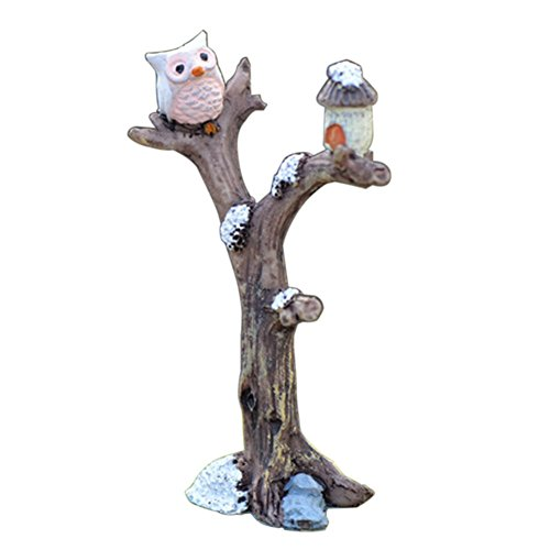 2 Owl Figurines - andy cool Premium Quality Mini Tree Branch Owl Garden House Ornament Plant Pot Figurine DIY Outdoor Decor Home Halloween Decoration
