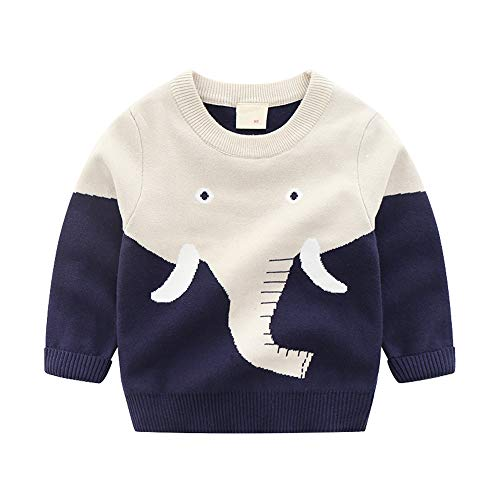 HUAER& Baby Boys Girls Knit Sweater Unisex Cotton Cartoon Animal Pullover Sweatshirt (18-24Months (Height:33-35 inch), Apricot & Elephant (2 Layers Thickness))