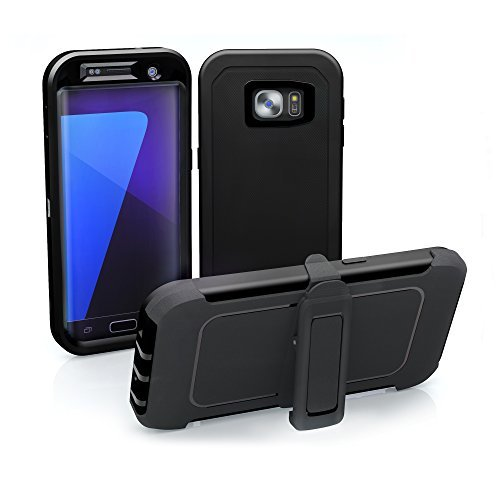 Galaxy S7 Edge Case, ToughBox [Armor Series] [Shock Proof] [Black] for Samsung Galaxy S7 Edge Case [Built in Screen Protector] [with Holster & Belt Clip] [Fits OtterBox Defender Series Belt Clip]