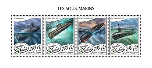 Djibouti - 2018 Submarines on Stamps - 4 Stamp Sheet - - Virginia Submarines Uss Class