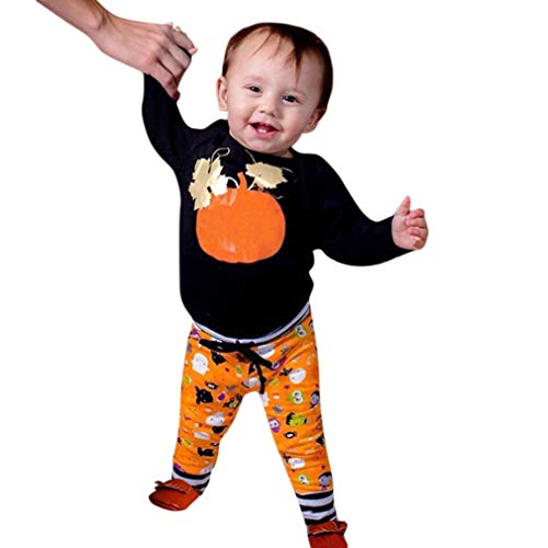YOcheerful Baby Halloween Toddler Pullover Sweatshirt Knit Pumpkin Outfits Suit (Black,100)