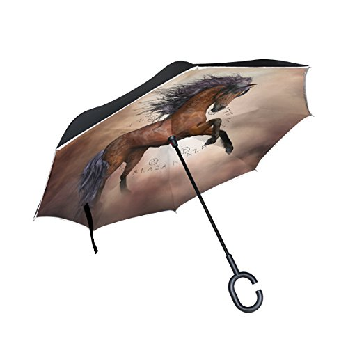 (OREZI Double Layer Inverted Umbrellas Reverse Folding Umbrella Windproof Protection Big Straigh Umbrella for Car Rain Outdoor with C-Shaped Handle,A Running Horse Umbrella for Women and Men )