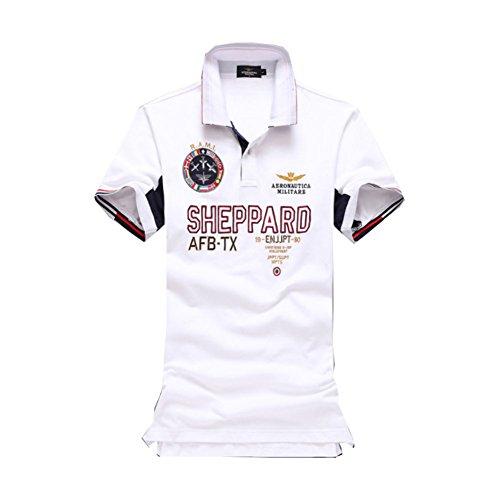 メンズ ポロシャツ 半袖 Tシャツカジュアル 紳士ポーツゴルフ シャツおしゃれ 2018人気 部屋着 吸汗速乾 (ホワイト, M)