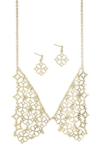[TRENDY FASHION JEWELRY PATTERN COLLAR NECKLACE SET BY FASHION DESTINATION | (GOLD)] (Lobster Claw Costume Pattern)
