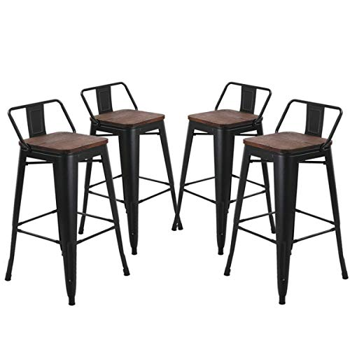 26 inch Barstools Set of 4 Kitchen Counter Height Metal Bar Stools with Low Back Wood Seat Matte Black (Barstools 26)