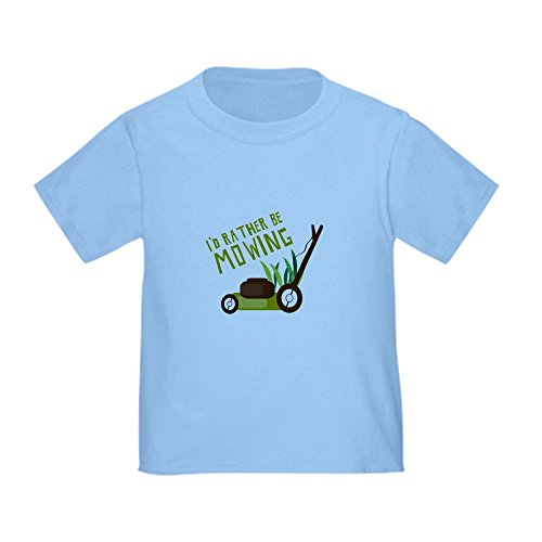 CafePress Rather Be Mowing T Shirt Cute Toddler T-Shirt, 100% Cotton Baby Blue (Lawn Mower For Kids)