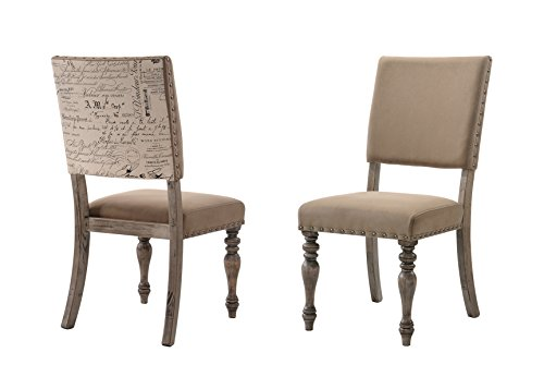 Roundhill Furniture C428 Birmingham Script Printed Driftwood Finish Dining Chair with Nail Head, Set of 2, (Chairs Dining Driftwood)