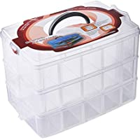 Flower River DIY 3-Tier Stackable Storage Container Box with 30 Compartments- for Nail polish, Organizing Tape…