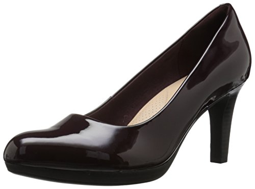 CLARKS Women's Adriel Viola Pump, Aubergine Synthetic Patent, 055 M US