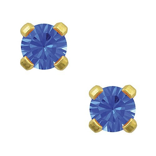 Studex Tiny Tips 3mm September / Sapphire CZ Birthstone Gold Plated Childrens Hypo-allergenic Stud - Motif Sapphire Earrings