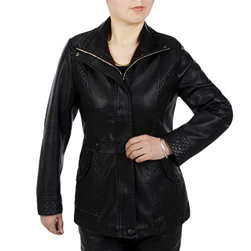 Girocollo Size Colletto 6xl Black Plus Con In A Pu Maniche Xl Sintetica Lunga Availcx Giacca Lunghe Giubbotto Cerniera Women Pelle 0UpYw8