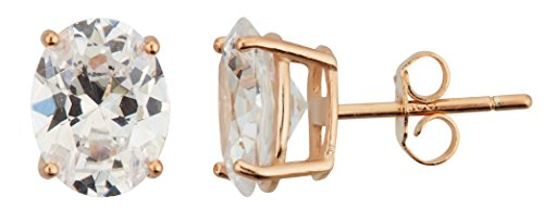 Triple Oval Earrings (Sterling Silver 5x7mm AAA Oval Solitaire Stud Earrings (rose-gold-and-sterling-silver))