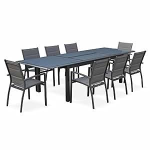 Alice's Garden - Conjunto de mesa de jardín con sus sillas, Aluminio, 8 plazas, Gris oscuro / Estructura Antracita, Philadelphie