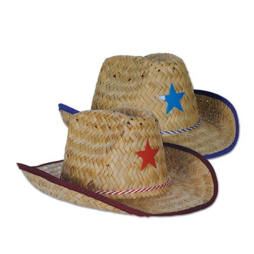 [Beistle 96-Pack Child Cowboy Hats with Star and Chin Strap] (Child Red Cowboy Hat)